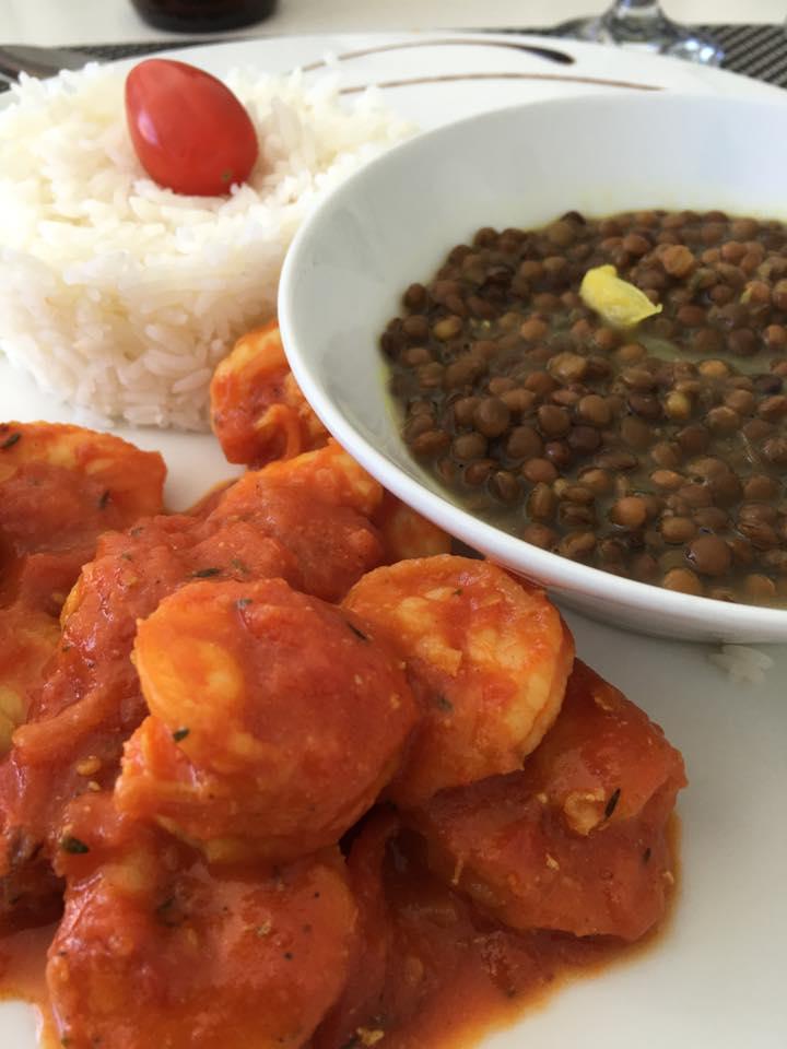 エビとレンズ豆のカレー