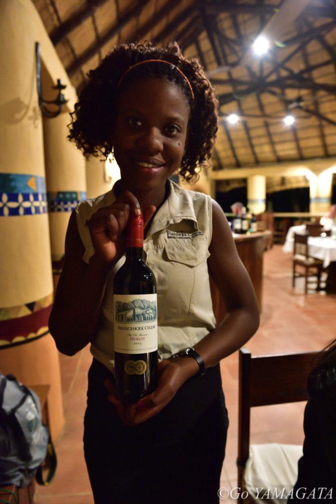 レストランでは南アワインを取り揃えていた。ワイン好きには嬉しい。