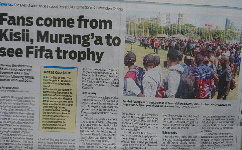 ワールドカップトロフィーがケニアにやってきた
