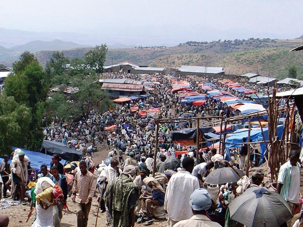 初期のオロモ人の露店をほうふつとさせるラリベラの市場