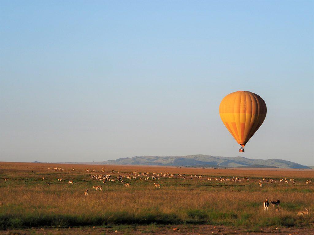 マサイ・マラと言えばやっぱり名物の気球サファリ!いいお値段はしますが、サバンナを空から眺めるなんて一生ものの体験です。