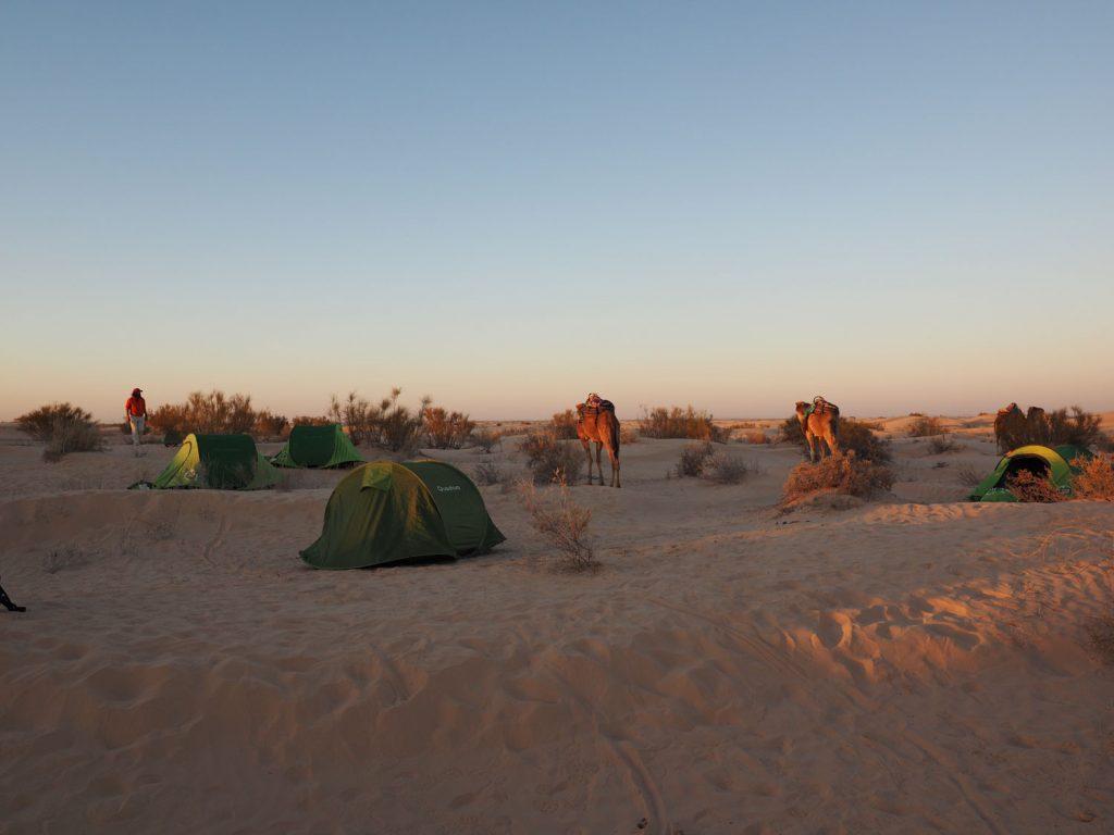 夕方早くキャンプ地に到着、テント設営