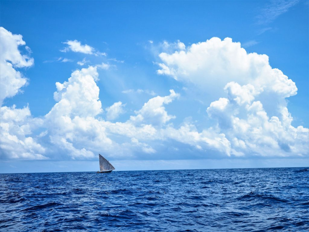 沖合にもダウ船スタイルの漁船が見えます。青一色の景色の中、タンザニアへと向かいます。