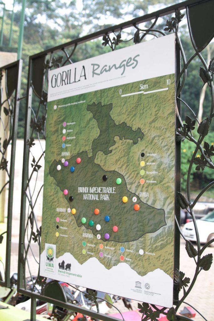 ゴリラグループが描かれた公園マップ